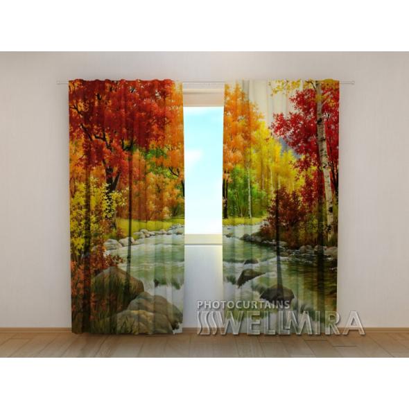 Gardinen bedruckt 3D Vorhänge Foto Vorhang Autumn 4 Herbst