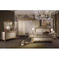 Schlafzimmer Katia in Beige/Gold 6-Teilig