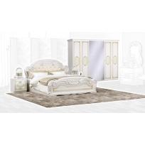 Schlafzimmer Set Lara 1 in Beige 4-Teilig Bettkopfteil gepolstert