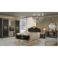 Schlafzimmer Greta in Schwarz/Gold 6-Teilig