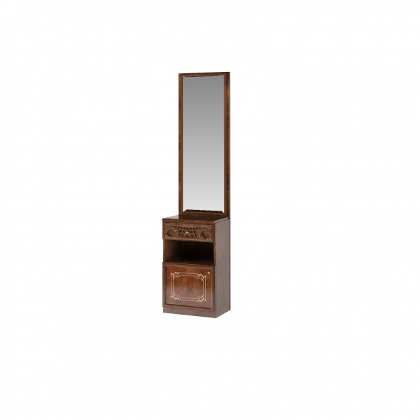 Barock Garderobenpaneel mit Spiegel Remo in Walnuss