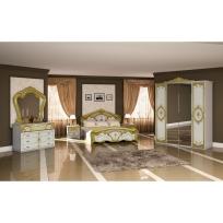 Schlafzimmer Remo in Weiss/Gold 6-Teilig