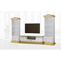 Barock Stil Wohnwand Remo 2 in Weiß/Gold
