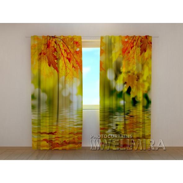 Gardinen bedruckt 3D Vorhänge Foto Vorhang Golden Leaves