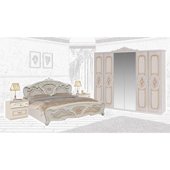 Schlafzimmer Remo in Beige Hochglanz 4-Teilig