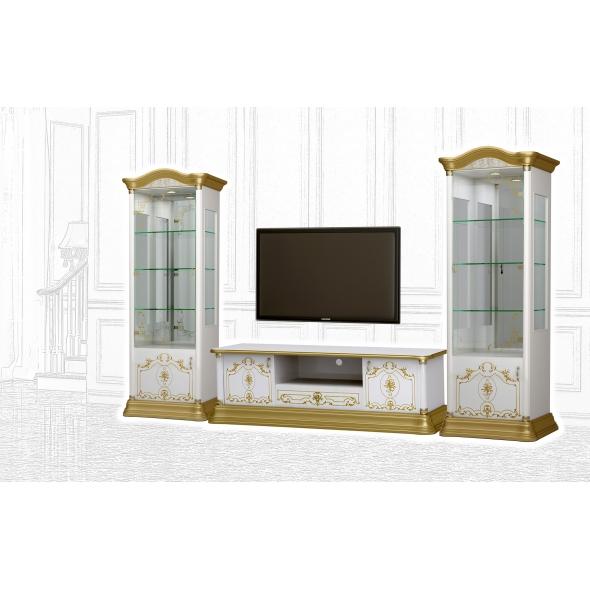 Barock Stil Wohnwand Remo in Weiss/Gold
