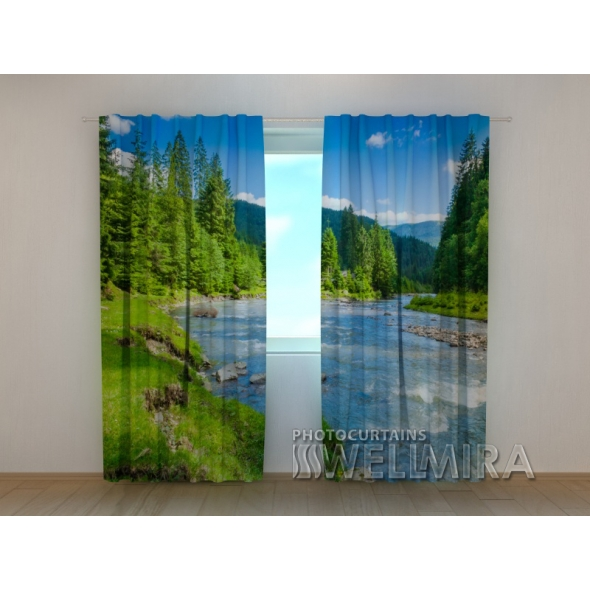 Gardinen bedruckt 3D Vorhänge Foto Vorhang River and Mountains
