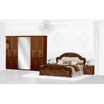 Schlafzimmer Set Lara 1 in Walnuss 4-Teilig Bettkopfteil gepolstert