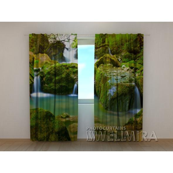 Gardinen bedruckt 3D Vorhänge Foto Vorhang Forest Waterfalls