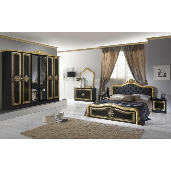 Schlafzimmer Livia in Schwarz/Gold 4-oder 6-Teilig