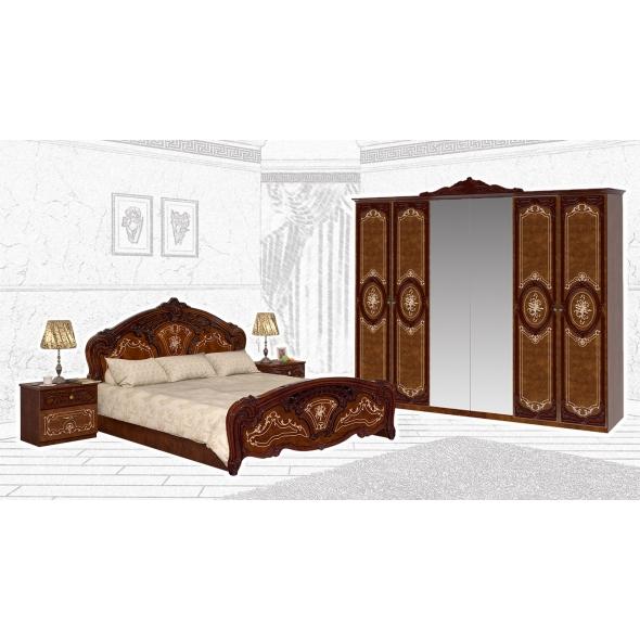 Schlafzimmer Set Remo in Walnuss Hochglanz 4-Teilig