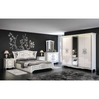 Italienisches Schlafzimmer Vittore in Weiß Hochglanz 6-Teilig