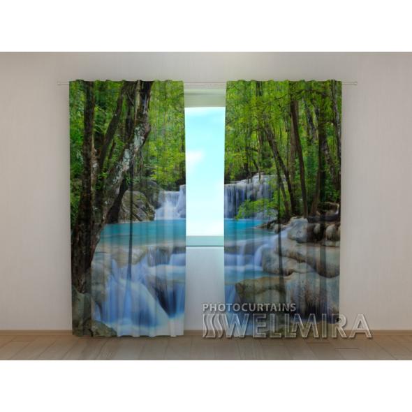 Gardinen bedruckt 3D Vorhänge Foto Vorhang Thai Waterfall in Spring