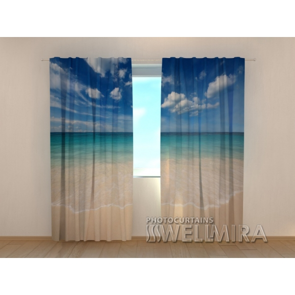 Gardinen bedruckt 3D Vorhänge Foto Vorhang Golden Sand