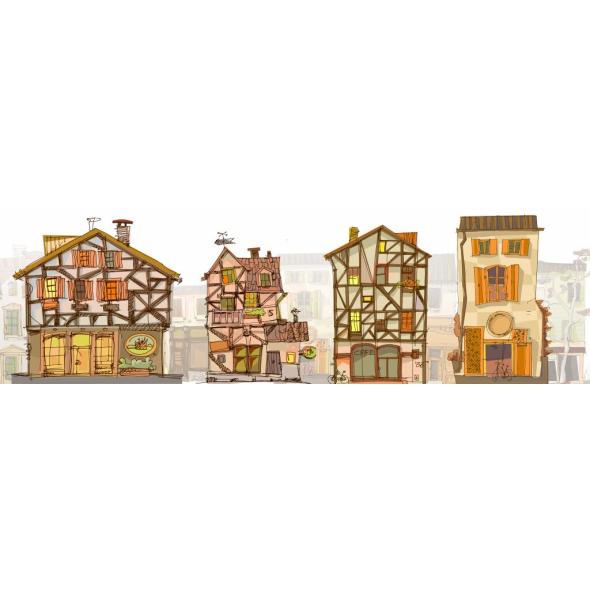 "Безрамные панели - картины 200х60 см AБС-пластик ""Домики"""