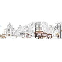 """Безрамные панели - картины 200х60 см AБС-пластик """"Уличное кафе"""""""