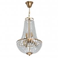 Hängeleuchte, Brass/Metal Transparent/Glass 6*40W E14, 111012406