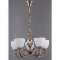 Hängeleuchte, Antique Brass/Metal White/Glass 5*40W E27, 114010205