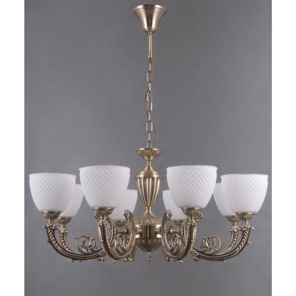 Hängeleuchte, Antique Brass/Metal White/Glass 8*40W E27, 114010308