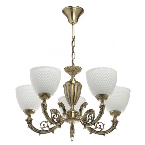 Deckenleuchte, Antique Brass/Metal White/Glass 5*40W E27, 114010405