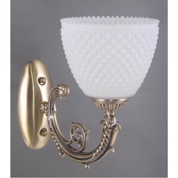 Wandleuchte, Antique Brass/Metal White/Glass 1*40W E27, 114020101