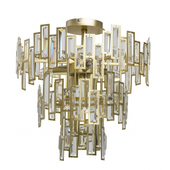 Hängeleuchte, Gold/Metal Transparent/Crystal 5*40W E14 2700K, 121010505