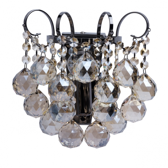 Wandleuchte, Nickelfarbig / Metall Gold + Teakfarbiges Kristall 1*60W E14, 232028001