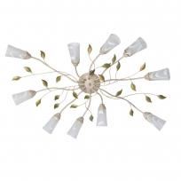 Deckenleuchte, Cremefarbe+Gruen+Goldfarbe/Metall Glas 10*60W E14, 242015510
