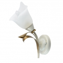 Wandleuchte, Beige+Gold/Metal White/Glass 1*60W E14, 242027601