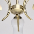 Deckenleuchte, Antik Braun/Metall Glas 3*60W E14, 256018103