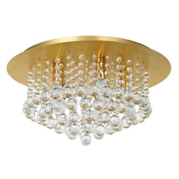 Deckenleuchte, Brushed Gold/Metal Transparentl/Crystal 5*40W E14, 276014705