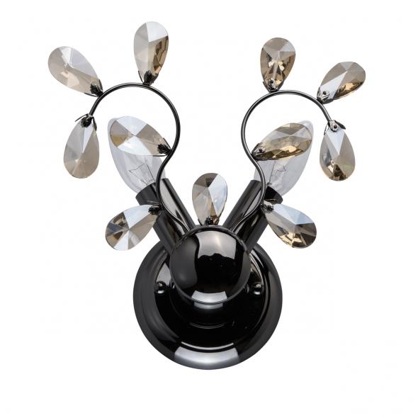 Wandleuchte, Schwarz + Chromfarben / Metall Kristall 2*60W E14, 280021102