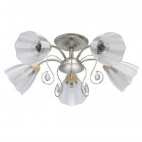 Deckenleuchte, Champagner Silber+Holz/Metall Transparent+Weißpattern/Glas Transparent/Kristal 5*40W E27 , 297013405