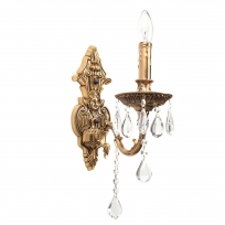 Wandleuchte, Antike Honig + Messingfarbe / Metall Kristall 1*60W E14, 301023401