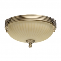 Deckenleuchte, Antike Messingfarbe / Metall Glas 2*60W E27, 317011202
