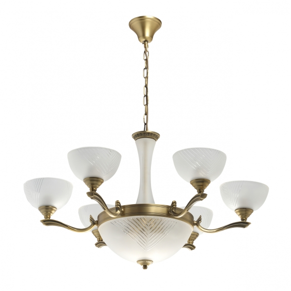 Hängeleuchte, Brass/Metal+Aluminum White/Glass 9*40W E27, 317014909