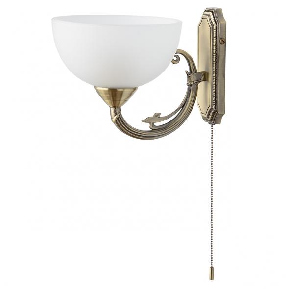 Wandleuchte, Messingfarbe / Metall Glas 1*60W E27, 318020801