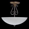 Deckenleuchte, Kaffee + Gold + Silberfarbe / Metall Glas 3*40W E27, 323012603