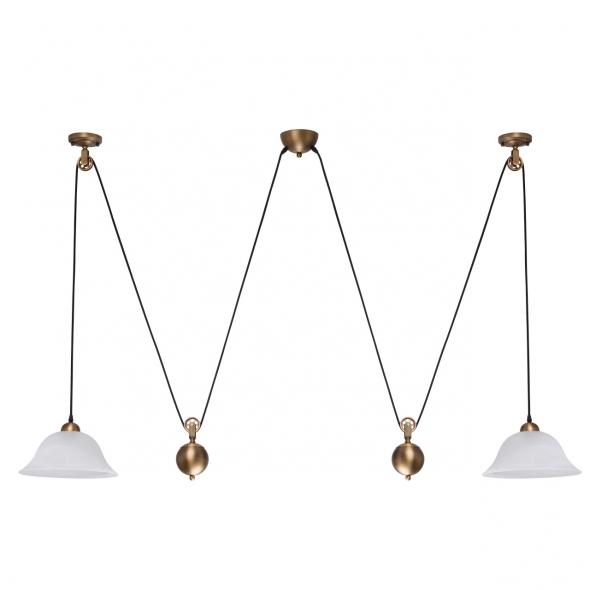 Hängeleuchte, Antique Brass Color / Metal Glass 2*60W E27 , 327010802