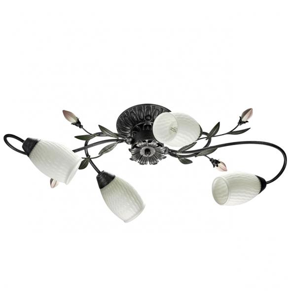 Deckenleuchte, Black+Silver/Metal White/Glass 4*60W E14, 334013504