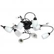 Deckenleuchte, Black+Silver/Metal White/Glass 8*60W E14, 334013608