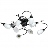 Deckenleuchte, Black+Silver/Metal White/Glass 8*60W E14, 334013608