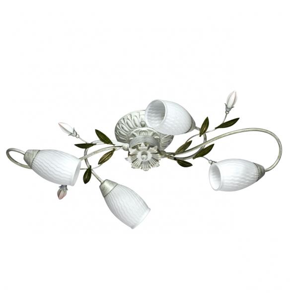 Deckenleuchte, White+Gold/Metal White/Glass 4*60W E14, 334013804
