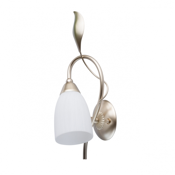 Wandleuchte, Pear Gold+Leaf Green/Metal Pickling With White Lines/Glass 1*60W E14, 334023401