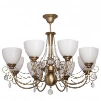 Deckenleuchte, Messingfarbe / Metall / Kristall/Glas 8*60W E27, 347016608