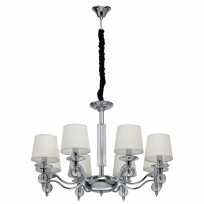 Hängeleuchte, Chrome/Metal Transpant/Crystal Beige/Fabric 8*40W E14 2700K , 355013208