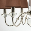 Hängeleuchte, Brown/Fabric Chrome/Metal Transparent/Crystal 6*40W E14 2700K, 355013506