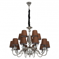 Hängeleuchte, Brown/Fabric Chrome/Metal Transparent/Crystal 15*40W E14 2700K, 355013715