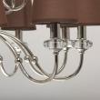 Hängeleuchte, Brown/Fabric Chrome/Metal Transparent/Crystal 15*40W E14 2700K, 355013715