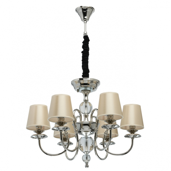 Hängeleuchte, Champagne/Fabric Nickel/Metal Transparent/Crystal 6*40W E14 2700K, 355013806